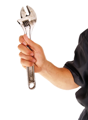 A man holding a wrench